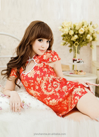 Girls short sexy nighty for hooneymoon red sepcial lingerie with China Qi pao style