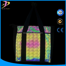 China high light rainbow color visible retro reflective fabric film for bags ,cloths,shoes,taps