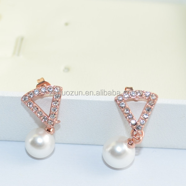 Sterling silver lady charm earrings/ear pendants with freshwater pearl and crystal wedding favor earring factory China