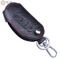 Black Genuine Leather Remote Smart Key Chain Holder Fob Case for Car with Red Stitching