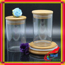 glass bottle for food tea glass storage jar with Bamboo cover Stock for food