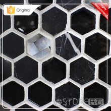China Hexagon Glass And Nero Margiua Marble With Shell Mosaic Tile