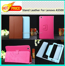 Cheap Price Folio Stand For Lenovo A5500 Leather Case, 4 Colors In Stock