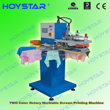 2 color rapid rotary t-shirt neck label and socks screen printing machine for sale