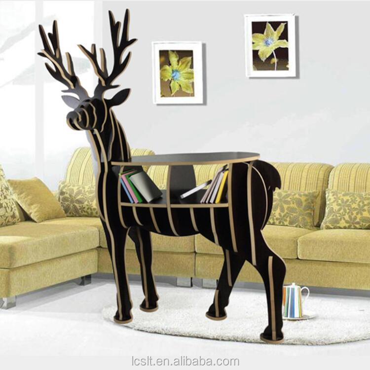 DIY wooden deer craft study room book shelf