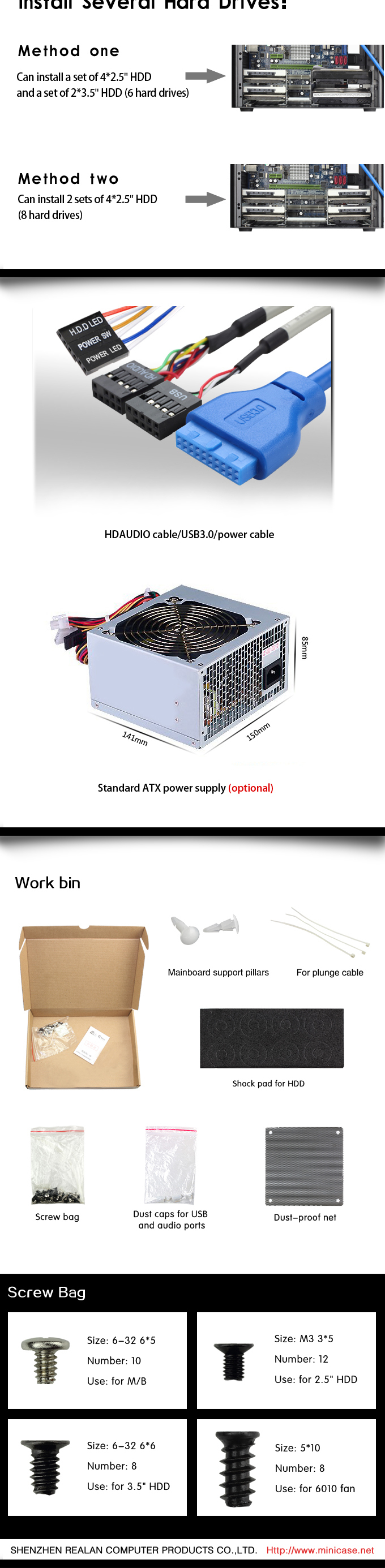 Realan modern oem aluminium custom htpc mini itx gaming pc computer case E-D3 with expansion slots