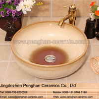 Chinese wholesale color glazed ceramic above counter sanitaryware sinks