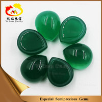 Pear shaped cabochon fascinating quality natural green chalcedony