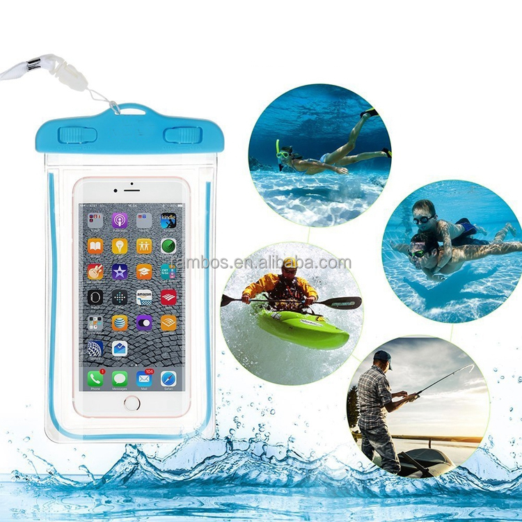 Noctilucent Cell Phone Waterproof Case Cover Dry Bag Pouch Transparent Touch Screen for iphone 7 / 7 plus / 6 6s / 6 plus