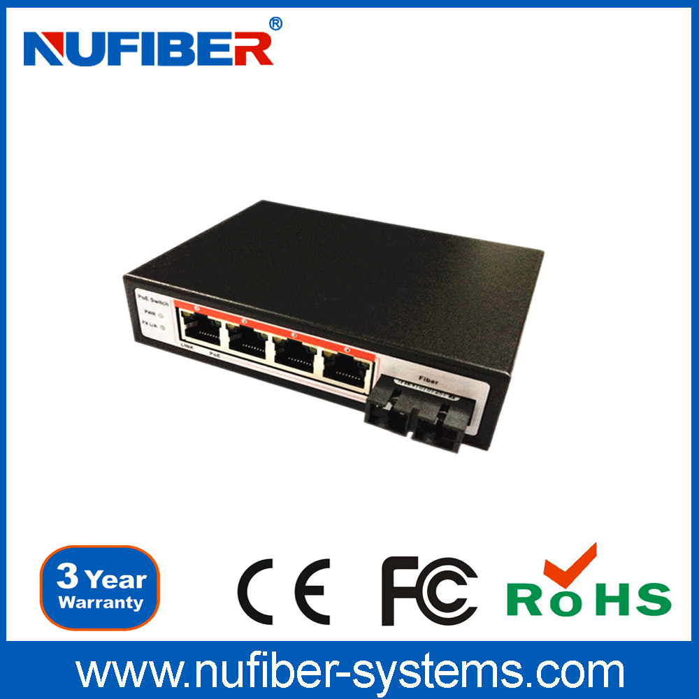 POE Switch Multi Mode Dual Fiber SC/ST/FC 2KM 4 POE Port Ethernet Switch