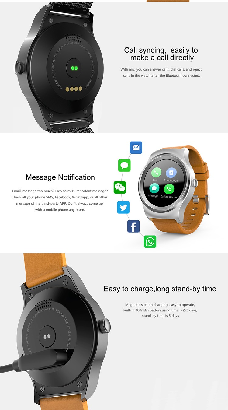 2017 New Arrival Touch Screen Watch 1.3inch IPS Round Smart Watch With Sim Card