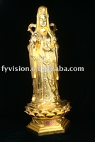 Indoor buddha statue with 24k genuine gold