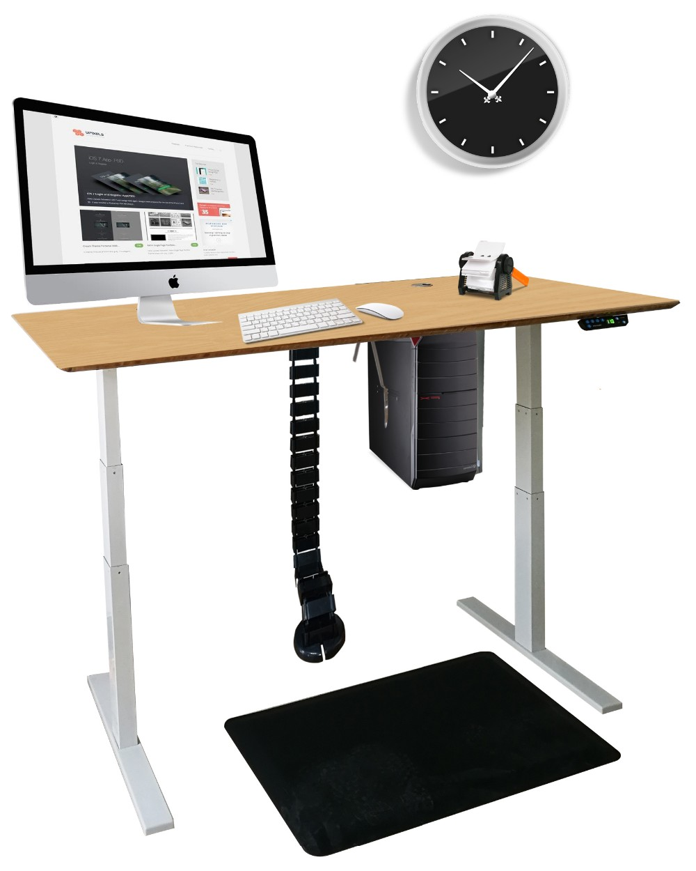 ABS office cable wire management system with metal base for height adjustable table ,51 inches
