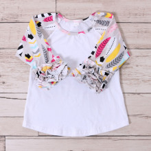 wholesale latest design floral fancy model casual tops for girls