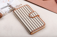 Buy direct from china 2-color Stripe Leather Case with Holder & Credit Card Slots for iphone 6s leather case china wholesale