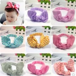 Hot Sale Fancy Custom Cute Baby Girls Fabric Rabbit Ears Hair Accessories Bow Tie Headbands