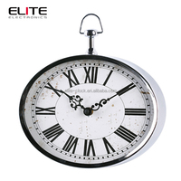 China wall clock supplier quartz metal wall clock with oval shape for station or garden