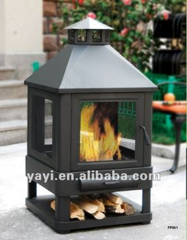 outdoor chimney fireplace with ash catch drawer, wood storage