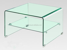 square double layer bending glass coffee table