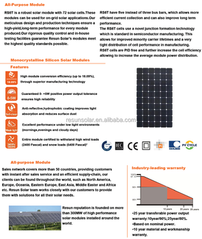 RS6T-M Series 330W-350W High Module Efficiency Mono Solar Panel Used in on-grid or off-grid