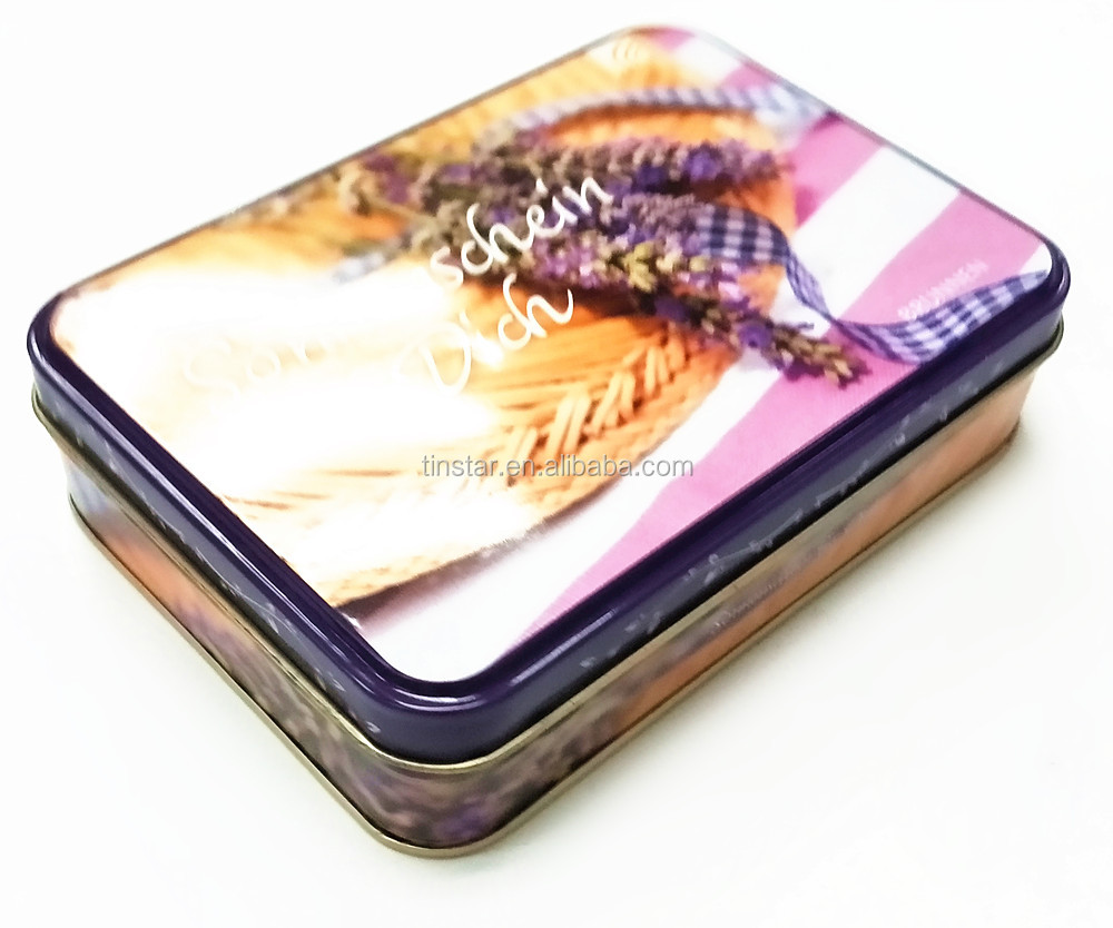 Food grade rectangular promotional cookies metal tin box