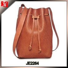 Popular Europe style women genuine leather bucket bag wholesale