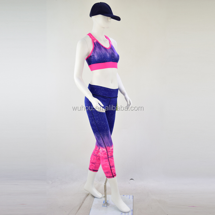 wholesale women sports yoga wear gradual print yoga suit