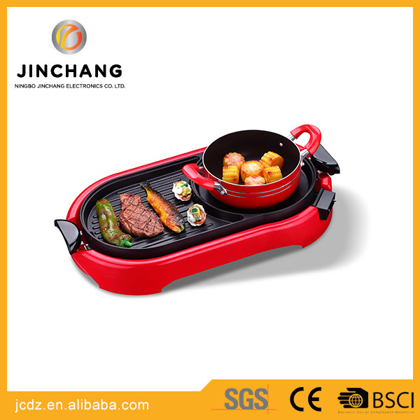mini outdoor and indoor portable electric cooker BBQ Grill with hotpot