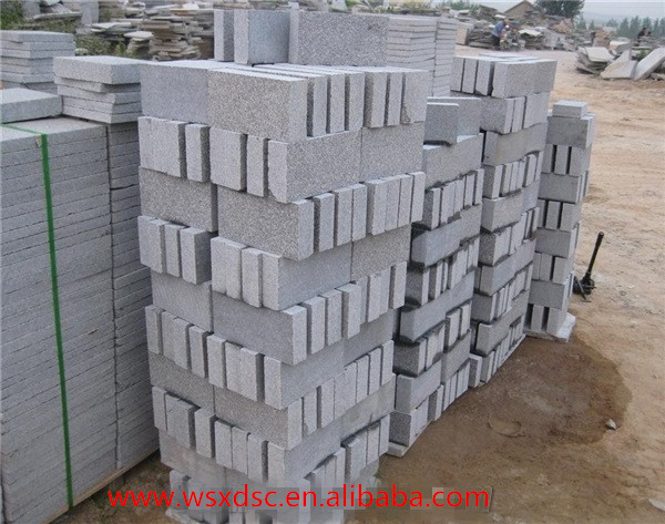 G343 Grey Granite Flamed Surface Cobble Stones, Cube Stones, Sides Split paving stone