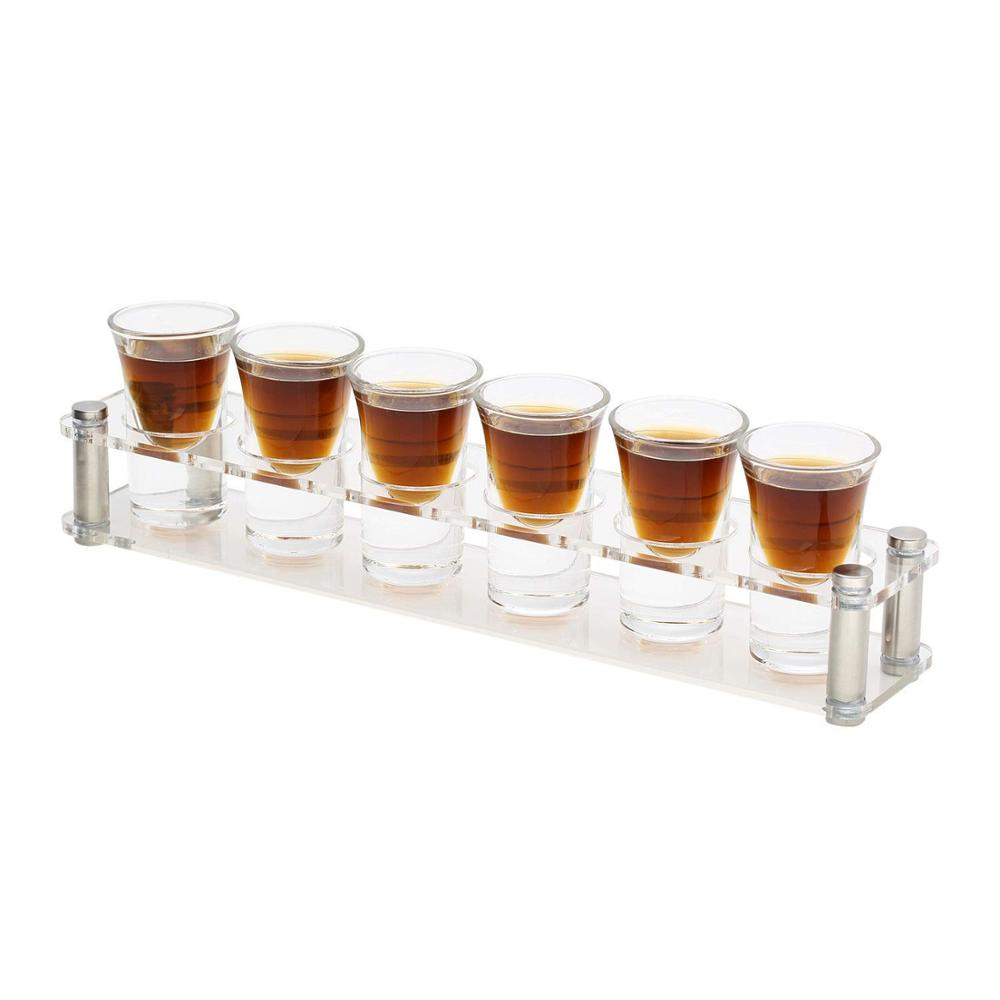 Set Shot Glass with Acrylic Transparent Cup Holder for Barware,Kitchen Storage, Shot Glass liquor Tray