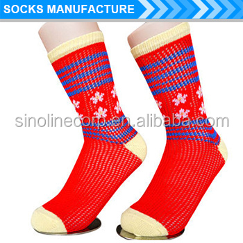 Women's jacquard pointelle pattern rumi socks made by Italy socks machine four color
