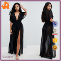 OEM plain black long summer shirred waist maxi chiffon beach kaftan dress