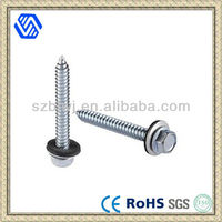 Hex washer head self drilling screw with wing and bond washer