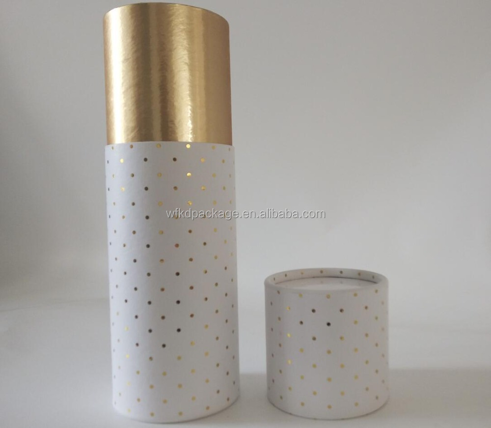 cylinder custom gold foil printing cardboard boxes for gift craft clothing packaging tube