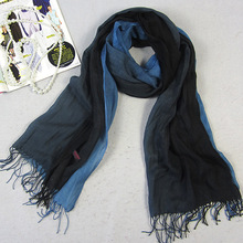 Promotion Men's Gradient Color Wool Scarf Shawls With Tassels