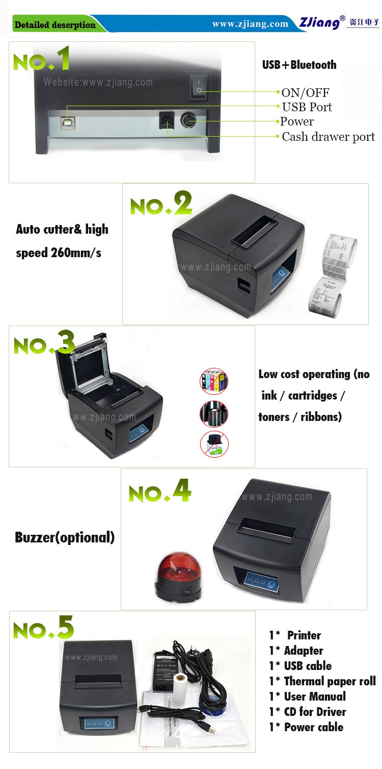 Android mobile printer with free sdk 80 mm bluetooth bill printer for shops