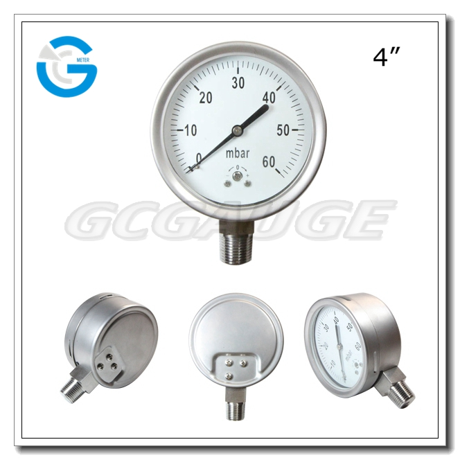 High quality all stainless steel bottom connection low pressure manometer vacuum
