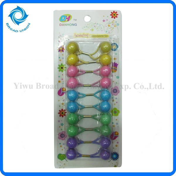 10PC Hair Ties With Balls Hair Beads