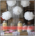 35cm White Tissue Paper Pom Poms Wedding Party Round Hanging Decorations supplies