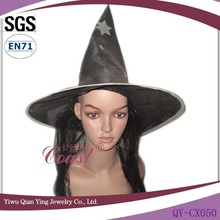 Halloween party decorated witches hat design with synthetic hair attached