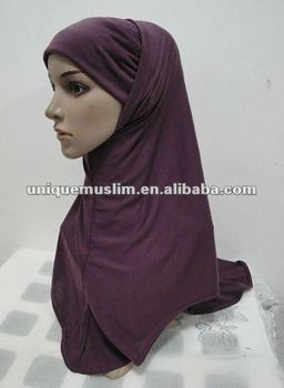 TH016 plain two pieces cotton hijab