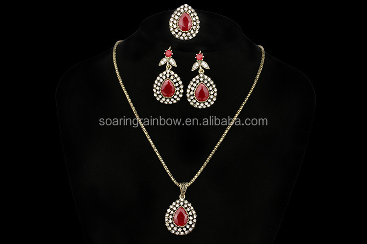 Gold Plated Crystal Jewelry Sets Vintage Sultan Turkish Waterdrop Jewelry Wholesale
