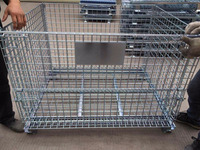 Folding steel Storage cage Wire mesh container with high loading capacity shelving and Lid