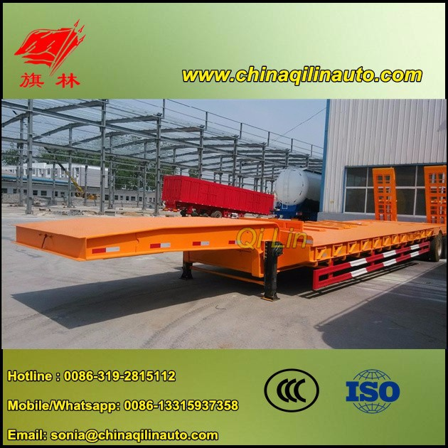2015 Low price 60Tons 2 line 4 axle extendable low bed semi trailer