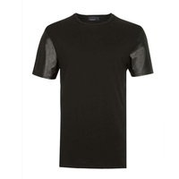 blank tshirt with leather sleeves