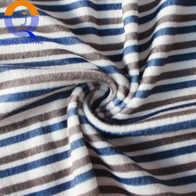 China textile supplier knittied stripe print velboa fabric low pile plush fabric for sofa