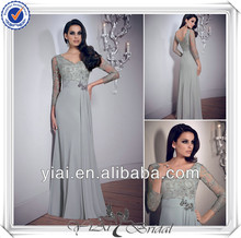 QQ362 Flowing chiffon floor length long sleeve evening dress with lace sleeve