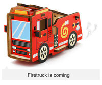 New Toy 3D Creative play role Firetruck Puzzle Geometric Wood Shapes