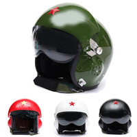2016 New Arrival 4 Colours Motorcycle/Scooter Helmet Air Force Jet Pilot Flight DOT ECE Full Face Detachable Dual Visor Helmet