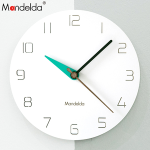 Mandelda 12 inch Modern Wall Clock Home Decoration Luxury Digital Silent Round Wooden Watch European Clock Wall for Living Room